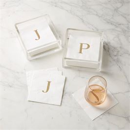 Initial Napkins in Acrylic Caddies